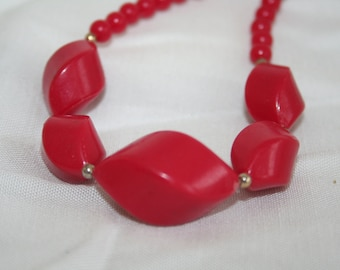 Vintage Red Plastic Beaded Necklace