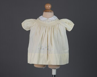 Vintage 1960s baby girl's dress | pale yellow smocked frock
