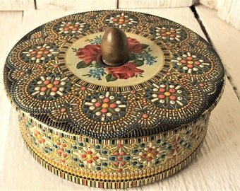 Vintage metal tin Moroccan jeweled mosaic tile with roses lid round made in Holland/ free shipping US