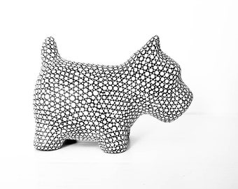 Dog coin bank black and white dog bank piggy bank