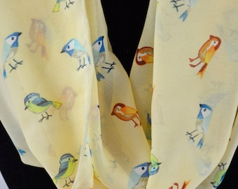Yellow Birds Infinity Scarf // Gift for her // All Weather Scarf // Gift for Women // Birthday // Bridesmaid Gift // Spring