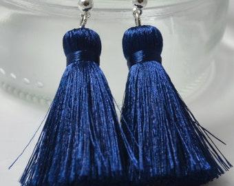 Silk thread tassel stud earrings. / Tassel with high polished stud earrings.