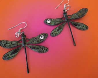 INTUITION, Verdi Gris  Dragonfly earrings with Swarovski Crystals
