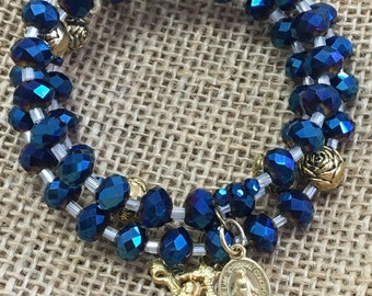 Iridescent Blue and Gold Wrap Rosary bracelet on memory wire