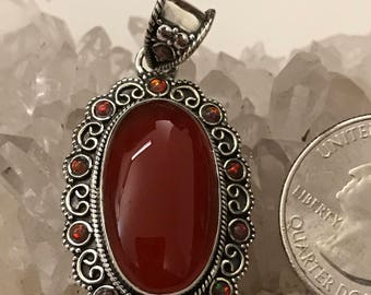 Carnelian and Fire Opal Pendant Necklace
