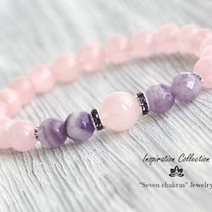 8mm Rose quartz bracelet Gift for her Gemstone Bracelet Bead Bracelet Women Rose quartz Gemstone Jewelry Womens gift