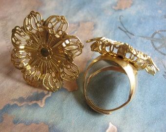1 PC adjustable raw brass large Filigree flower ring setting - riveted