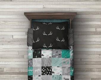 Woodland Minky Blanket - SHIPS today -  Designer Bedding - Faux Panel Bedding - Moose Bedding - Deer Blanket -Woodland Bedding -Teal Blanket
