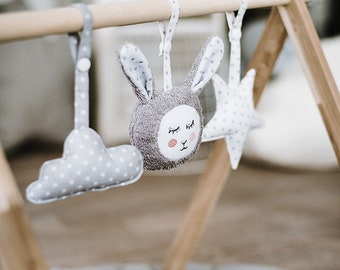 Baby Bunny Toys for GYM - grey plush rabbit baby play gym toy - baby gift soft toys