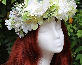 White and Pale Green Flower Crown, Butterfly, Purple, Flower Crown, Floral Crown, Headpiece, Fairy, Renaissance, Costume