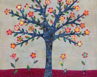 Art Print Tree Collage Painting Mixed Media Art Print, Tree Poster Print