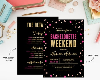 Toss the Confetti Pink and Gold Bachelorette Weekend Invitation