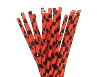 Paper Straws, Orange and Black Polka Dot Paper Straws, Halloween Party Supplies, Fall Carnival Party Decor, Cake Pop Sticks, Polkadot Straws