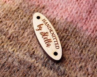 Wooden labels, custom garment labels, engraved wooden tags, oval labels, knitting labels, crochet labels, logo tags, branding labels, 25 pc