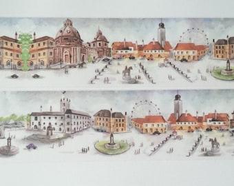 Design Washi tape city market square mirrored