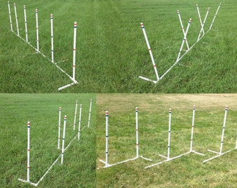 Ama-Zing Dog Agility Training Weave Poles  Straight, Slanted, Channeled, even 2-by-2!! Set of 6 poles