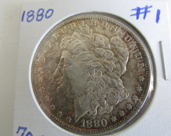 1880 Silver Dollar Antique Coins 1880 Morgan Dollar 1880 USA Silver Coins Antique US Coin Silver US Currency Rare 1800s Coins Silver Dollar