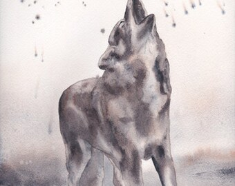 Wolf howl watercolor print