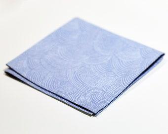 Light Blue Dotted Wave  100% Cotton Pocket Square