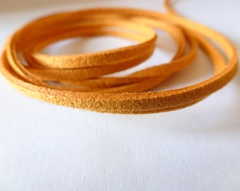 1 meter 3mm (ref PPS3JS) saffron yellow flat suede cord