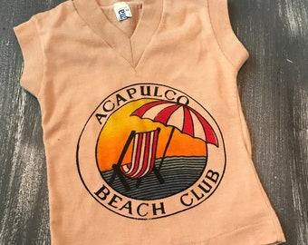 Vintage Kids V-Neck T-Shirt Acapulco Beach Club Size 2 Super Soft