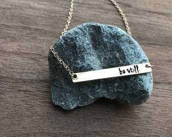 Be Still Bar Necklace, Silver, Be Still, Still, Mantra Necklace, Bar Necklace, Simple Design