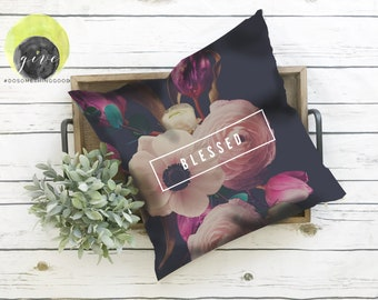 Blessed Floral Square Pillow Case