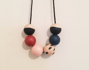 Handpainted Wooden Bead necklace | neutral palette | READY TO SHIP