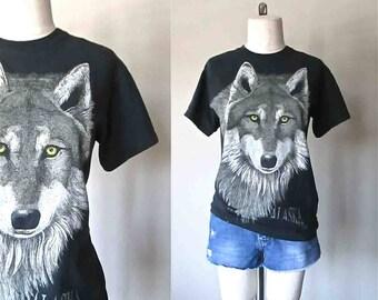 Vintage black tshirt ALASKAN WOLF soft and worn souvenir shirt - S