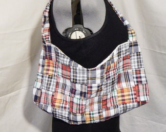 Plaid Patchwork bag, Primary Colors