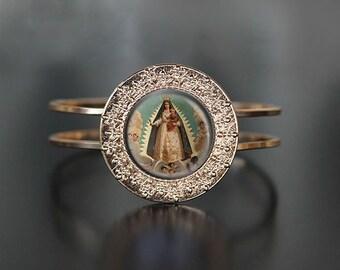 Caridad del Cobre Cuff Bracelet. Our Lady of Charity Catholic Bracelet Virgin Mary Jewelry Filigree