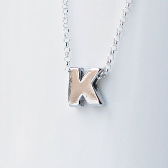 Sterling silver initial necklace tiny initial pendant aloadofball Gallery