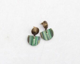 Semicircle earrings Half moon earrings Rustic dangle earrings Polymer clay jewelry Eva Andre Design