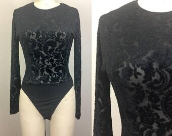 Vintage 90s Black VELVET Burnout Mesh Bodysuit S/M