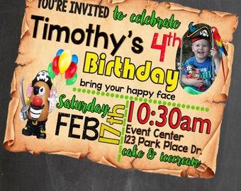 Potato Head Birthday Personalized Invite *Digital Image Only*