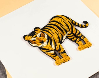 3D Blank Quilled Tiger Animal Card