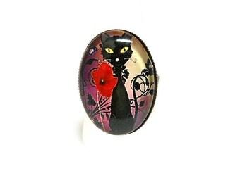 Black cat and poppy ring