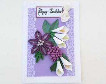 Paper Quilling Birthday-White Lily Flower Card-Free Shipping-Paper Quilled Purple Daisy flowers- Florist card-Birthday-Mom-Florat Art Card