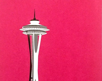 Seattle Space Needle screen print (Magenta)