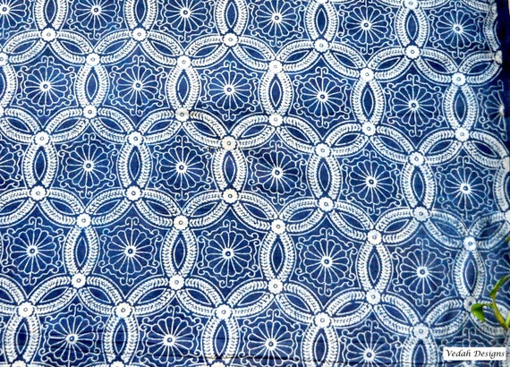 Moroccan Design Indigo Fabric Mudcloth Block Print Fabric