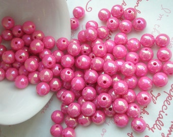 Pearly AB color Shiny beads 8mm 60pcs HOT PINK