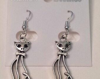 Tibetan Silver Large Cat Earrings
