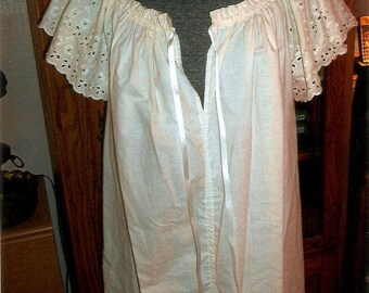 Woman's Cotton Nightgown, Eyelet Sleeves, Full Length