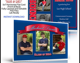 Class of 2017 Senior Invitation 5x7 Flat Card Photoshop Template BLUE & RED