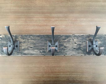 Farmhouse Rustic Coat Rack - Key Rack - Wooden Coat Rack - Wall Coat Rack