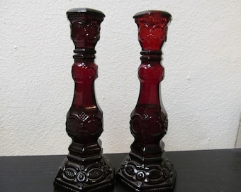 Vintage Avon Ruby Red Cape Cod Glass Set of Perfume Bottles / Candlestick Holder Combo Excellent Condition Home Decoration