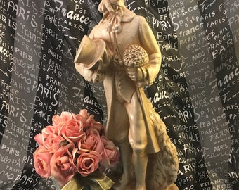 plaster chalkware 19th century antique fancy Frenchman figure statue in cream