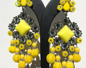 Lawrence VRBA Signed Large Statement Crystal Earrings - Lemon Yellow