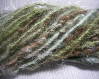 Handspun Hand Dyed Curly Textured Leicester Longwool Bulky Art Yarn in Pale Green and Rust for Knitting Crochet Weaving by KnoxFarmFiber