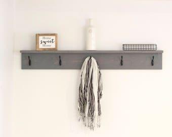 Charmant Wood Coat Rack With Shelf | Rustic Coat Rack | Entryway Coat Hooks | Wall  Mount